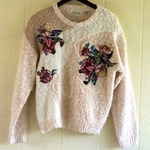 Vintage cozy oversized floral sweater